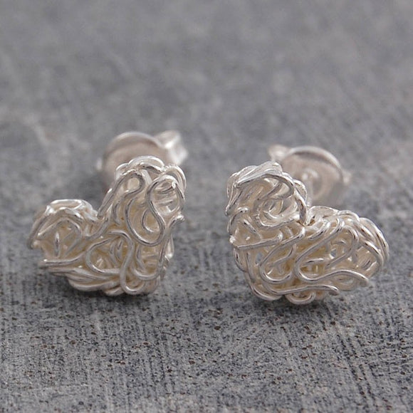 Mesh Silver Heart Stud Earrings