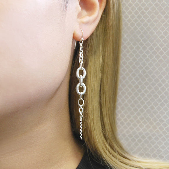 Multi Chain Silver Drop Earrings