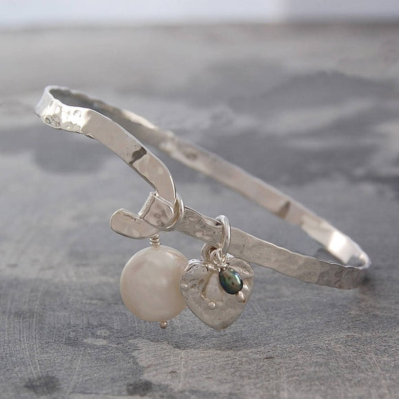 Organic Silver Heart Bangle with Pearls