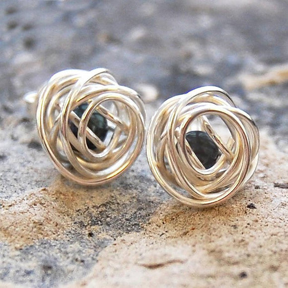Black Caged Pearl Silver Stud Earrings