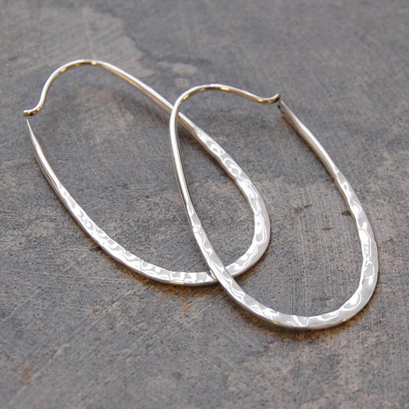 Oval Battered Silver Hoop Earrings