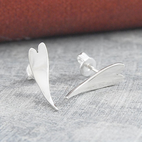 Curved Silver Heart Stud Earrings