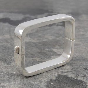 Contemporary Rectangular Silver Hinged Bangle