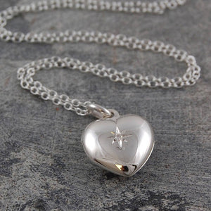 Silver Heart Locket with White Topaz