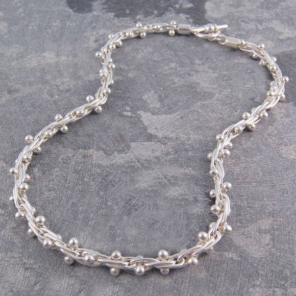 Peppercorn Silver Statement Necklace