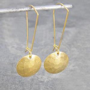 Circular Shield Hammered Gold Earrings