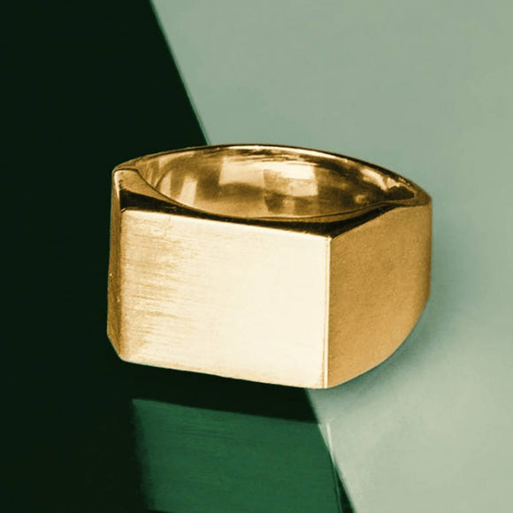 Rectangular 18k Gold Plated Silver Signet Mens Ring