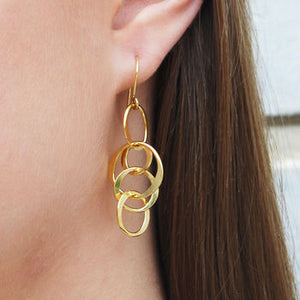 Gold Planet Long Drop Earrings