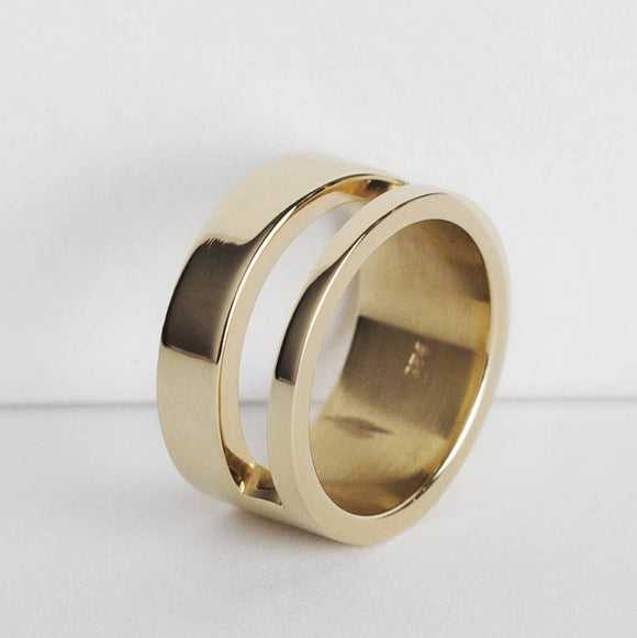 Men's Cut Out 18k Gold Plated Silver Ring