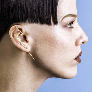 Gold Lightning Bolt Geometric Ear Cuff