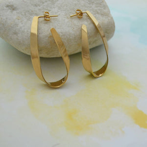 Gold Teardrop Ribbon Hoop Earrings