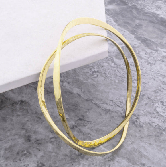 Gold Textured Round Stacking Bangles