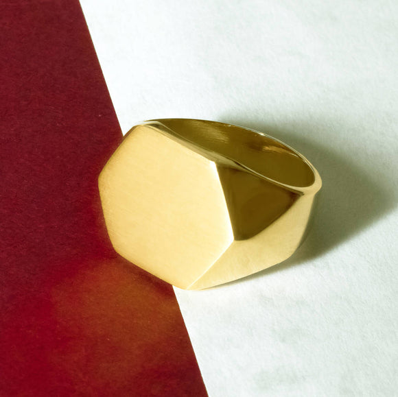 Gold Solid Men's Hexagonal Signet Ring