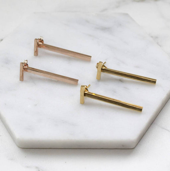 Gold / Rose Gold Two Way Bar Ear Jacket Earrings