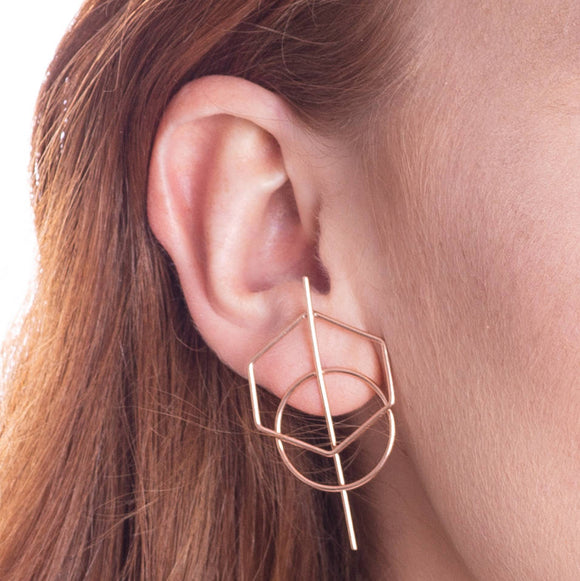 Rose Gold Geometric Hexagon Stud Earrings