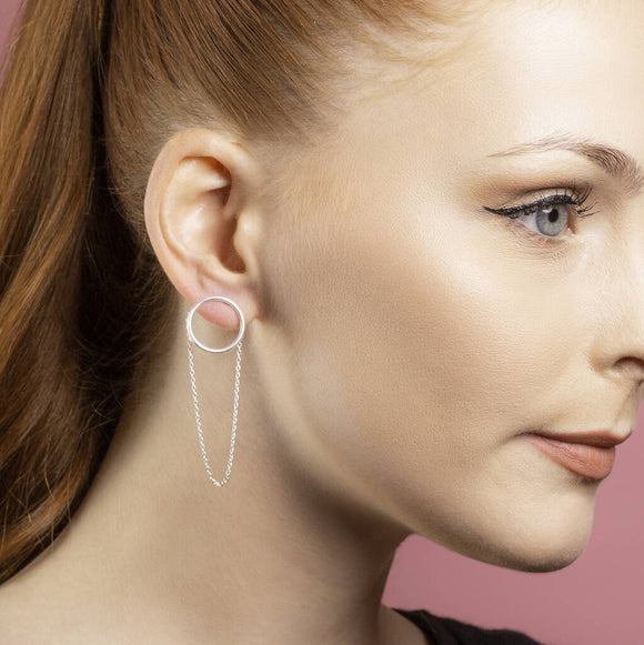 Silver Grecian Chain Stud Drop Earrings