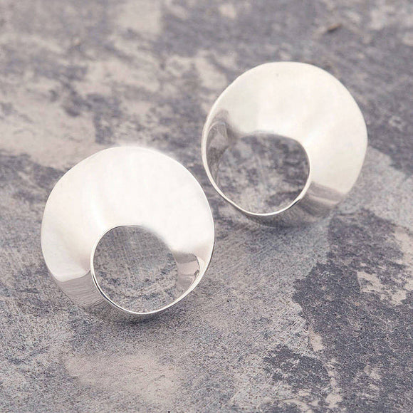 Swirl Silver Medium Stud Earrings