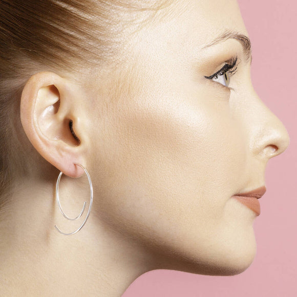 Silver Overlapping Two Way Ear Jacket Earrings