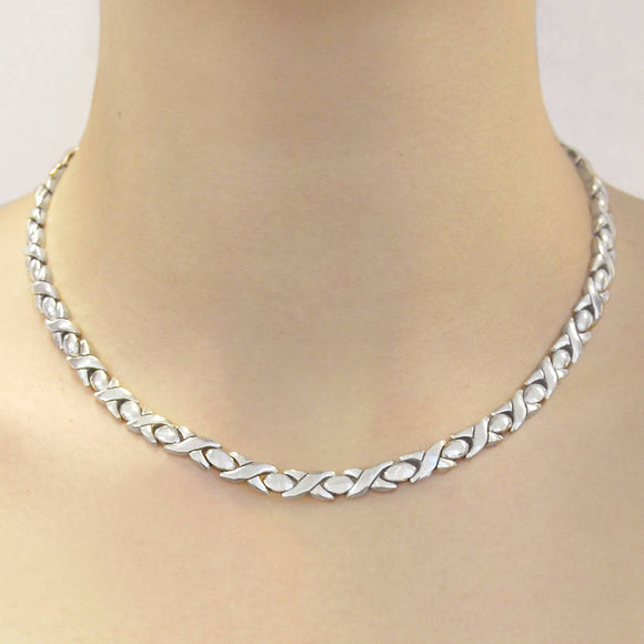 Silver Hugs And Kisses Statement Necklace