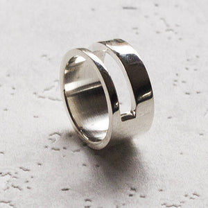 Solid Men's Cut Out Silver Ring