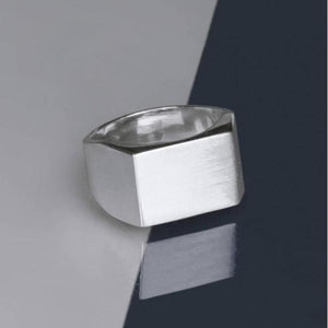 Rectangular Mens Solid Silver Signet Ring