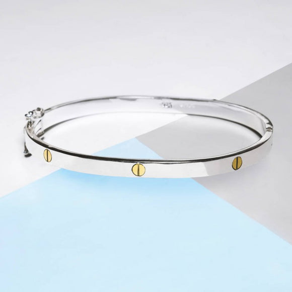 Silver And Gold Screw Accent Bangle