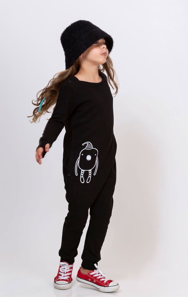 Black pique overall with noomi print