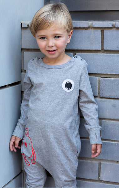 Gray Overall with  Noomi print