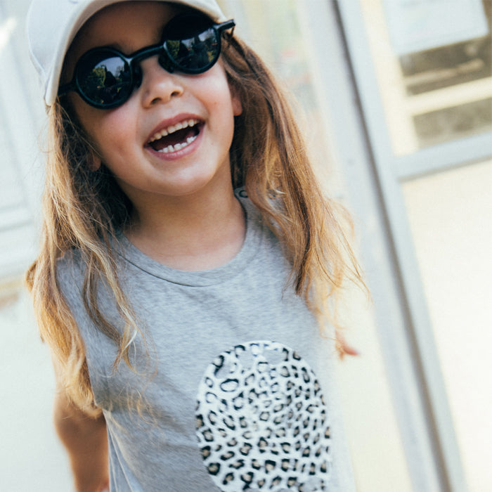 Gray Overall - Leopard Print Mouth  - White