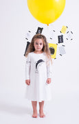 White Ocean Dress - Black