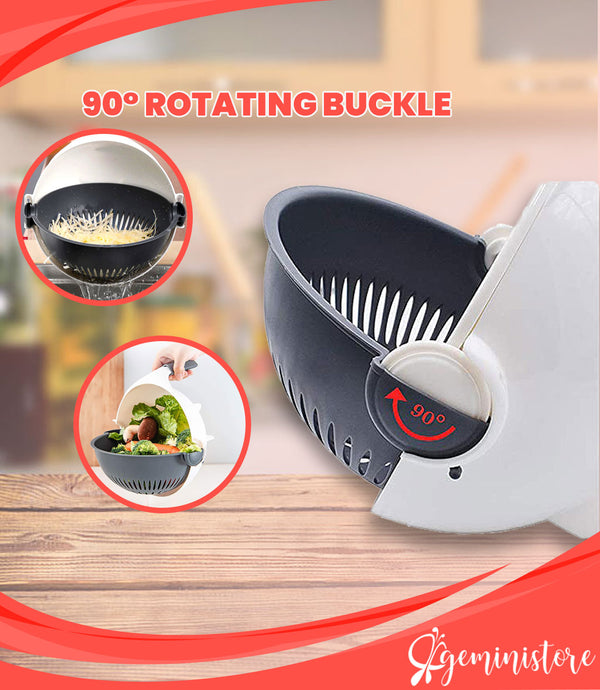 2 in 1 Vegetable Slicer and Strainer - Quick Julienne and Round Cuts