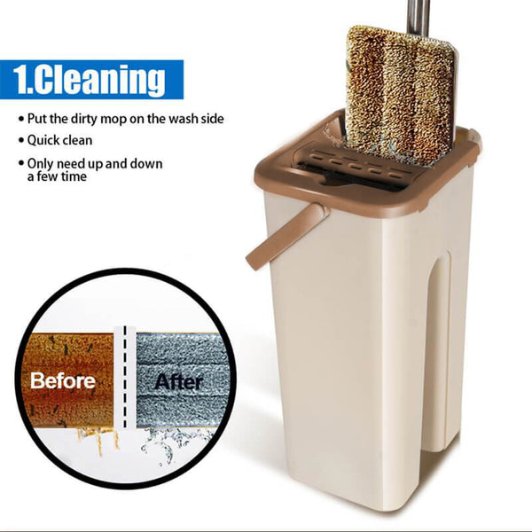 Mighty Self Clean & Dry Microfiber Mop - Quick Swipe Clean System!