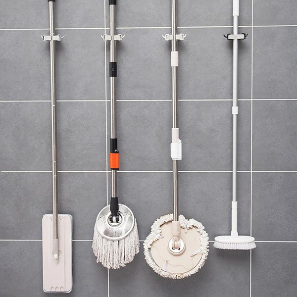 Multi-function Wall Mounted Holder - For Mops, Umbrellas, or Keys