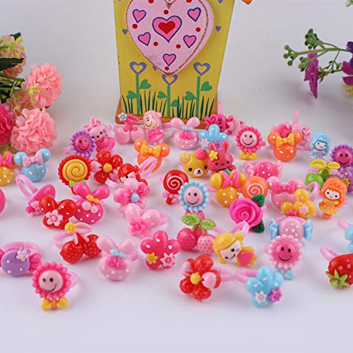 36pcs Cute Rings Set for Little Girls with Heart Shape Box