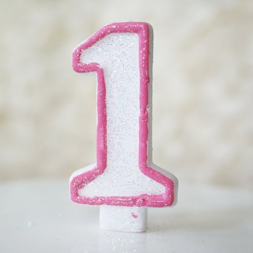 Glittered # Number Candle For Birthday