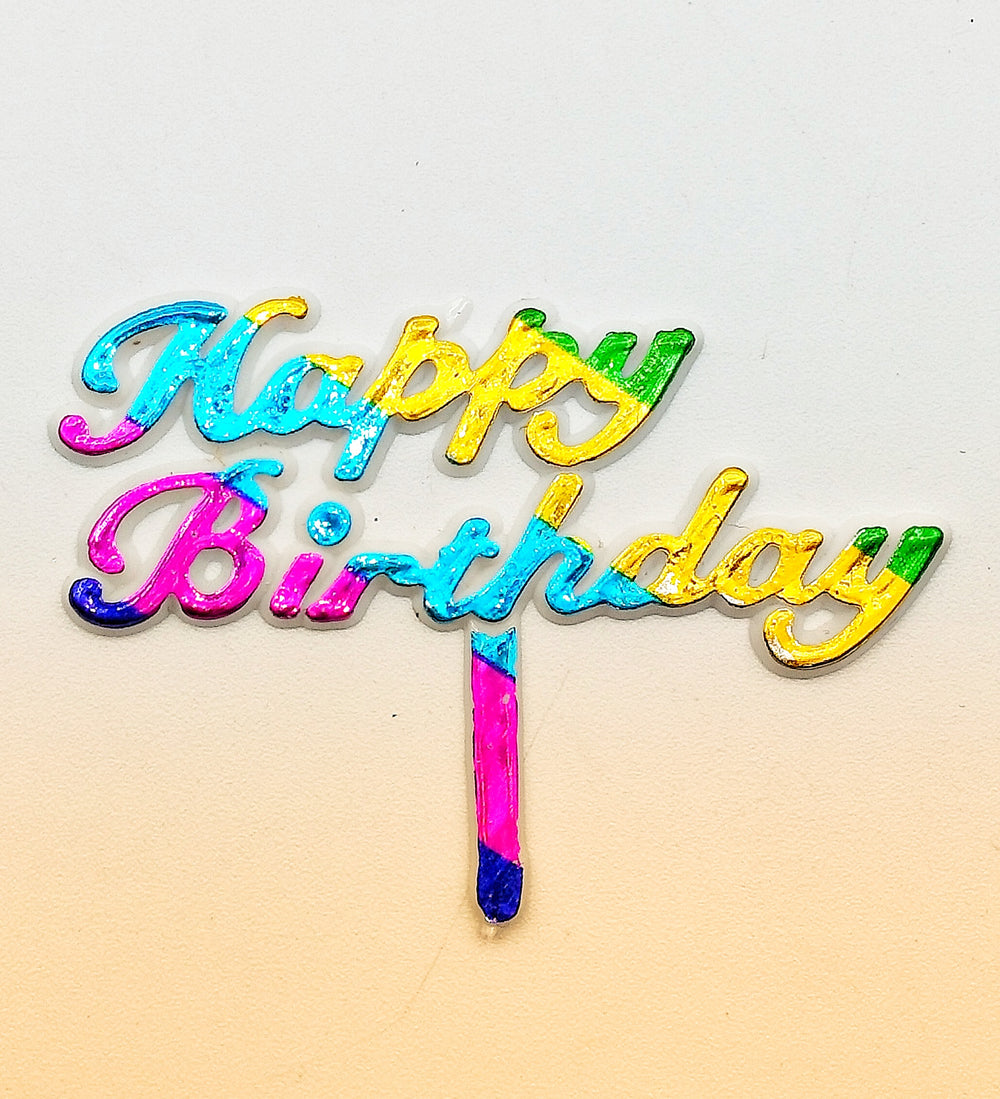 """Happy Birthday"" Multicolor Cake Topper"