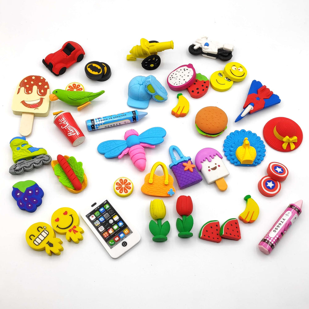 12 Pcs Random Unique Erasers on SALE