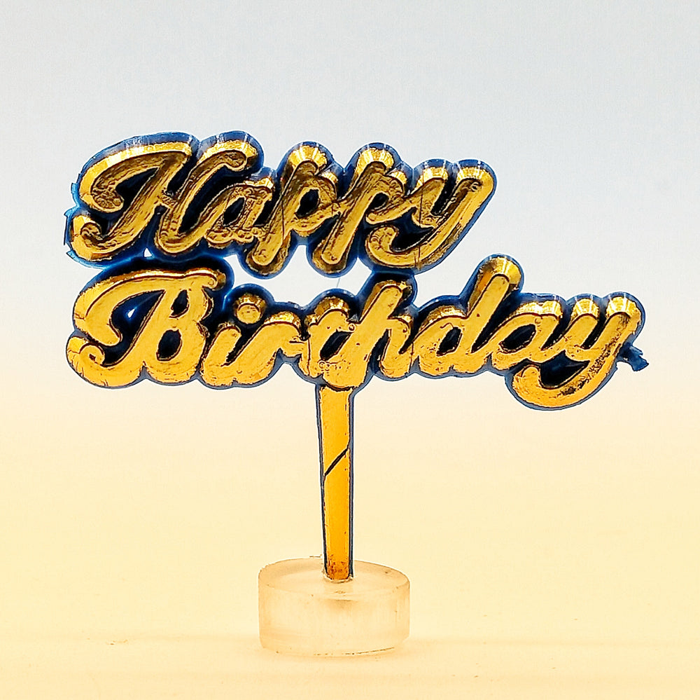 """Happy Birthday"" Golden Cake Topper"