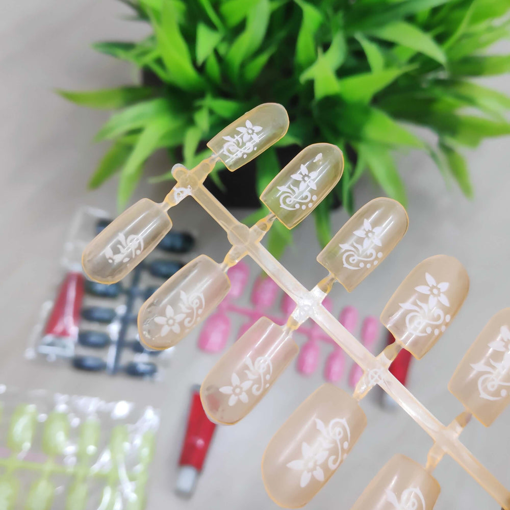 Artificial Nail with glue color Assorted (1 Pack OF 12 PCs nail  )