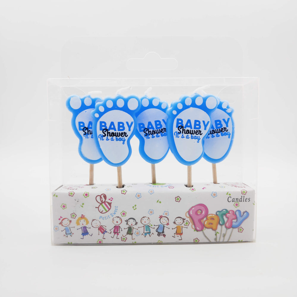 Baby Shower Foot Shape Its A Boy Candle 5PCs