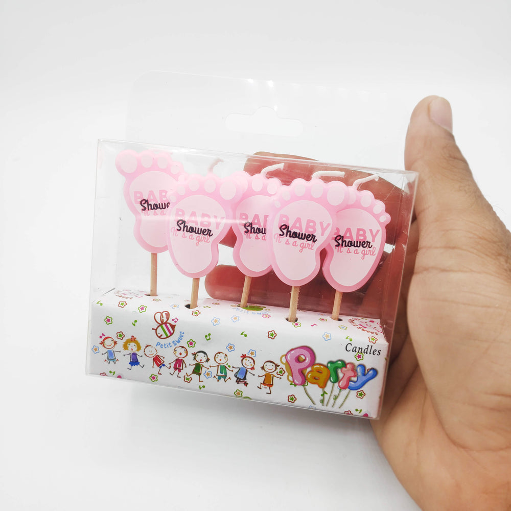 Baby Shower Foot Shape Its A Girl Candle 5PCs