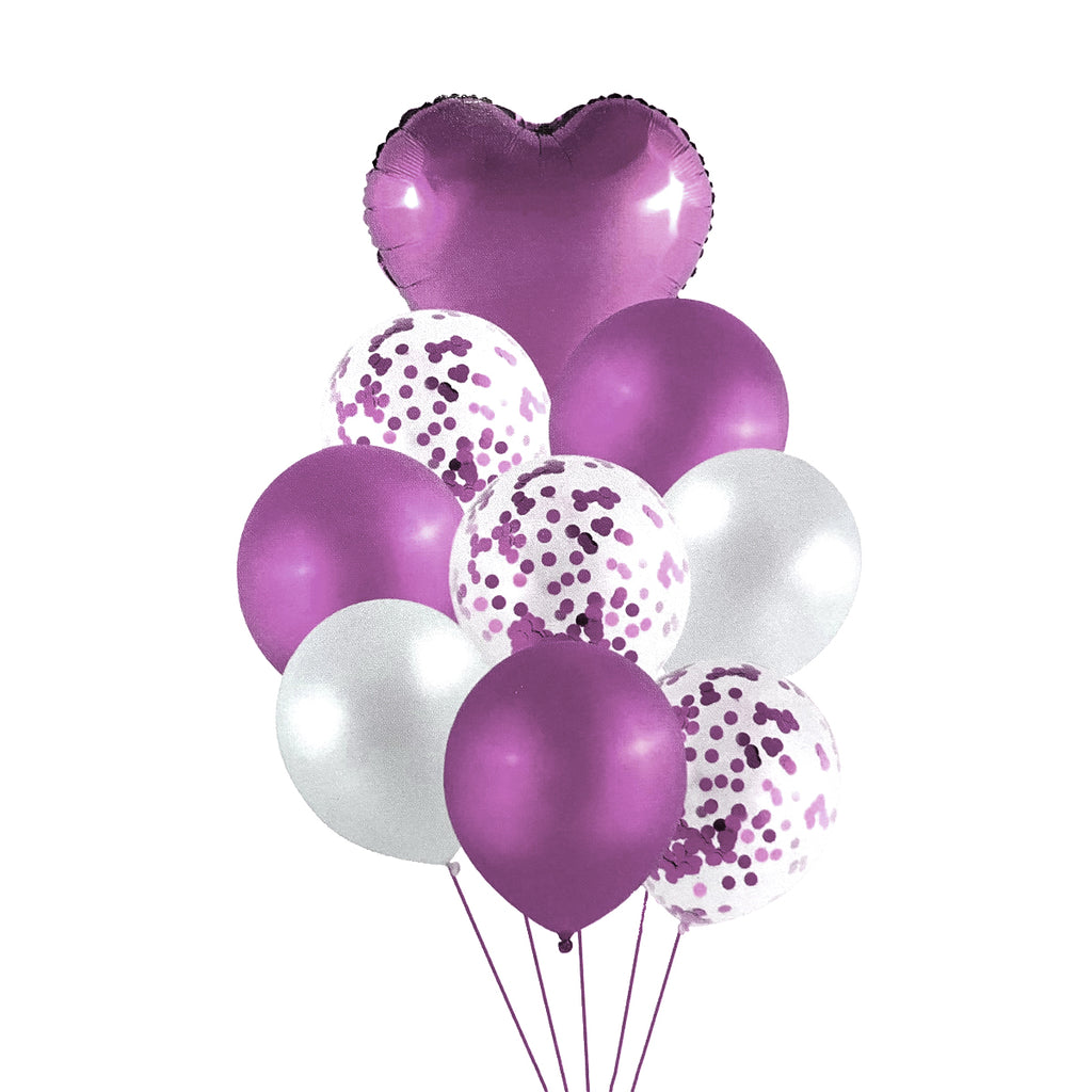 Heart Shaped Special Party Decoration Confetti Balloons pack of 9pcs (Metallic Pink )