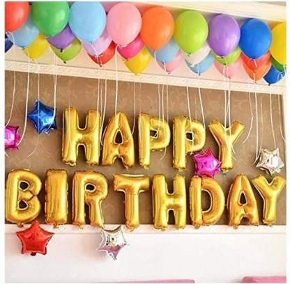 Happy Birthday Decoration Foil Balloon Golden Letter (Gold)