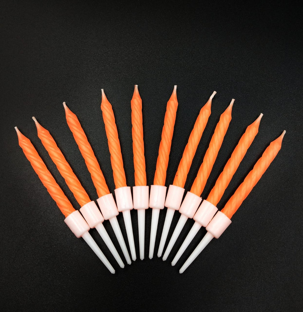 Birthday Party Cake Decoration 10 Candles Pack - Orange