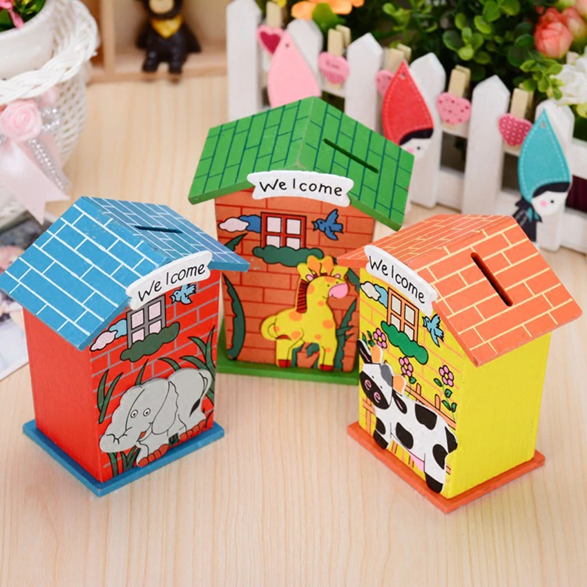 Wooden House Shaped Money/Coin Bank for Kids (1 PCs)