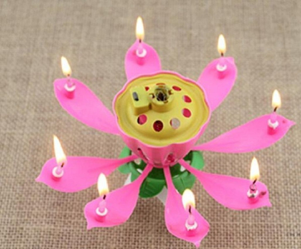 Rotating Lotus Flower Shape Musical Candle for Happy Birthday (1 PCs )