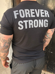 "The words ""Forever Strong"" in large grey letters on the back of a black t-shirt."