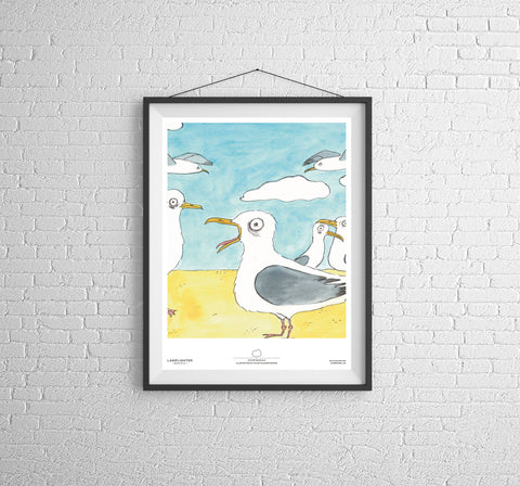 Stupid Seagulls Can Art Poster