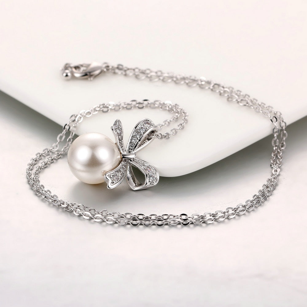 Bowknot Pearl Necklace - Dress Mist