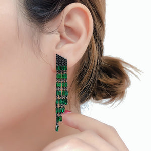 Long Tassel Green Earings - Dress Mist